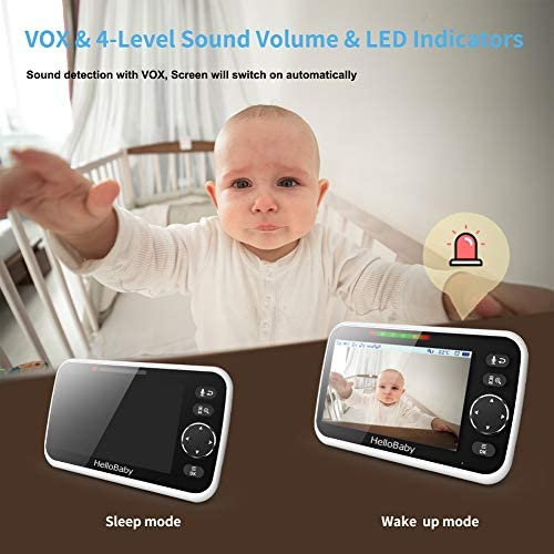 """5112IIZ74 L. AC - Video Baby Monitor With Camera And Audio, 5"""" Color LCD Screen, HelloBaby Monitor Camera, Infrared Night Vision, Temperature Display, Lullaby, Two Way Audio And VOX Mode"""