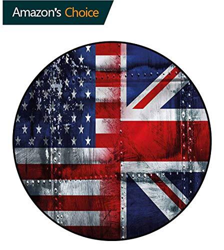 RUGSMAT Union Jack Machine Washable Round Bath Mat,Alliance UK and USA Foam Mat Bedroom Decor Bedroom Diameter-39