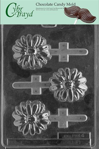 Cybrtrayd Life of the Party IC001 Daisy Pop Ice Cream Chocolate Candy Mold in Sealed Protective Poly Bag Imprinted with Copyrighted Cybrtrayd Molding Instructions
