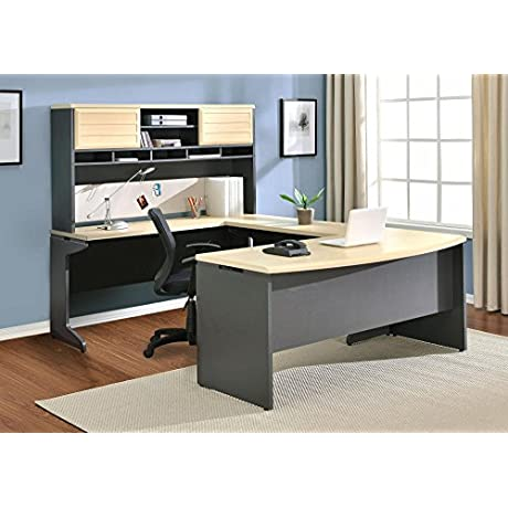 Ameriwood Home Pursuit U Shaped Desk With Hutch Bundle Natural