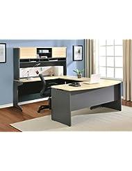 Altra Pursuit U-Shaped Desk with Hutch Bundle, Natural/Gray