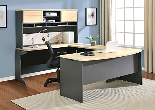Ameriwood Home 9347196 Pursuit U-Shaped Desk with Hutch Bundle, Natural