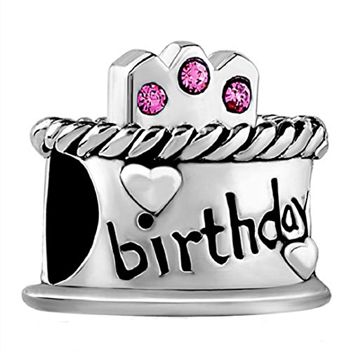 (Happy Birthday Cake Candles Jan-Dec Birthstone Crystal 925 Sterling Silver Bead fit European Charms (Pink October Birthstone))