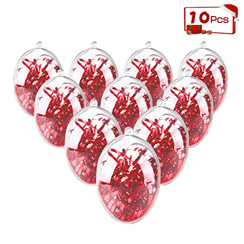 ShellKingdom Fillable Ornament Ball, Clear Transparent Ball & Plastic DIY Bauble Ball for Home/Wedding/Party/Tree/Craft/Christmas/Xmas Decoration/Soap Bath Bomb 10PCS(Egg) (Easter Christmas Eggs)