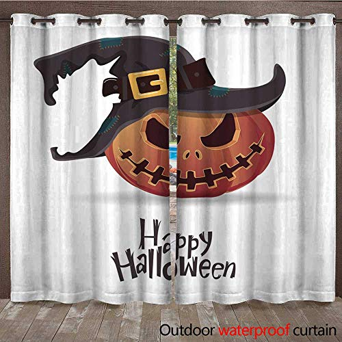 RenteriaDecor Outdoor Curtain for Patio Halloween Pumpkin Carving in Black Witch hat Cartoon Vector W72 x L84]()