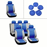 95 4runner seat covers - ECCPP Universal Car Seat Cover w/Headrest - 100% Breathable Embossed Cloth Stretchy Durable for Most Cars Trucks Vans(Blue/Gray)