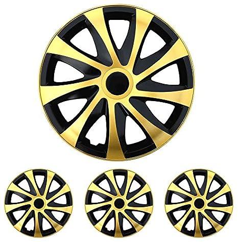 Tapacubos – Tapacubos Tapacubos DRACO bicolor negro de oro 15 pulgadas 15 R15 Chevrolet Daewoo