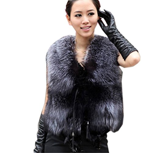YR Lover Women's Real Silver Fox Fur Vest Winter Warm Fox Fur Gilet US4