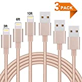 iPhone Charger,Everdigi 3Pack 3ft 6ft 10ft Extra Long Nylon Braided Charging Lightning to USB Cable Compatible with iPhone X 8 8Plus 7 7 Plus 6 6s 6 plus 6s plus iPhone 5 5s 6c iPad iPod & More-Gold