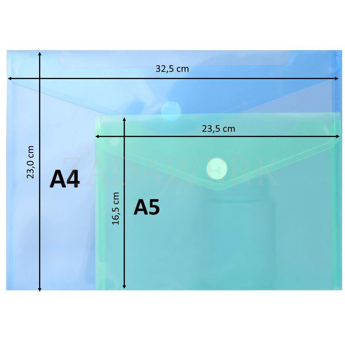 color Blanco A5-12 St/ück Funda para documentos ZADAWERK/®