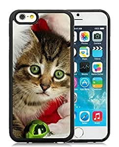 Individualization iPhone 6 Case,Christmas Cat Black iPhone 6 4.7 Inch TPU Case 11