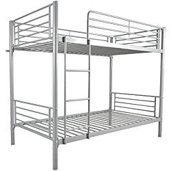 "FCH Dual Ladder Twin Over Twin Bunk Bed Easy Assembly Metal Frame W/Ladder Kids Adult Children Bedroom 78"" W x 42"" D x 65"" H (Gray)"