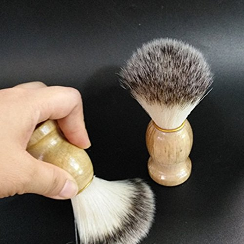 elegantstunning Razor Barber Tool, Men Badger Shaving Brush With Hard Wood Handle