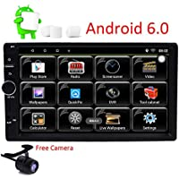 Android 6.0 2 Din Car Stereo Muti-Touch Screen GPS Navigation System, Quad Core 1024x600, Android 6.0, 7-Inch Display, Bluetooth, AM/FM Receiver and Backup Camera Wifi