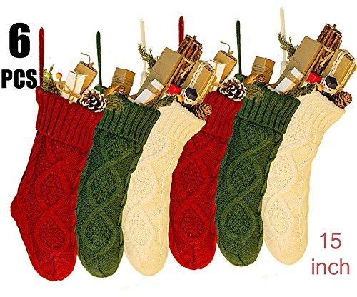 JBNEG 6 PCS 15'' Knit Christmas Stockings woven Stockings Christmas Decorations White/Red/Green