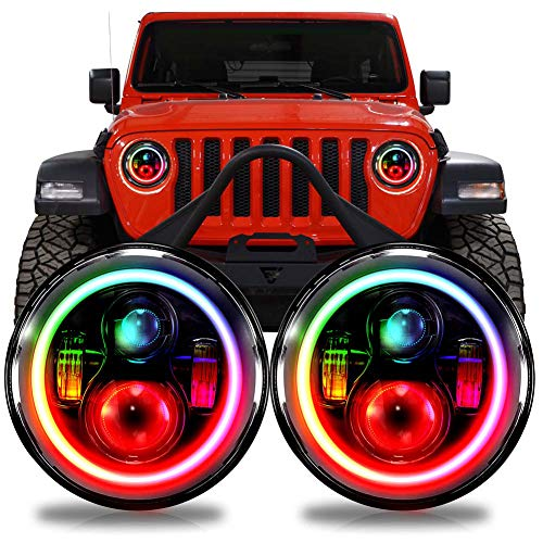LED RGB Color Changing Projector Headlights Headlamp for Jeep Wrangler JL Gladiator 2018+ w/Factory Halogen Lamps
