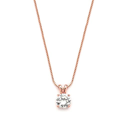 Amazon mariell luxurious 14k rose gold plated 2 carat round cut mariell luxurious 14k rose gold plated 2 carat round cut cubic zirconia necklace pendant aloadofball Image collections