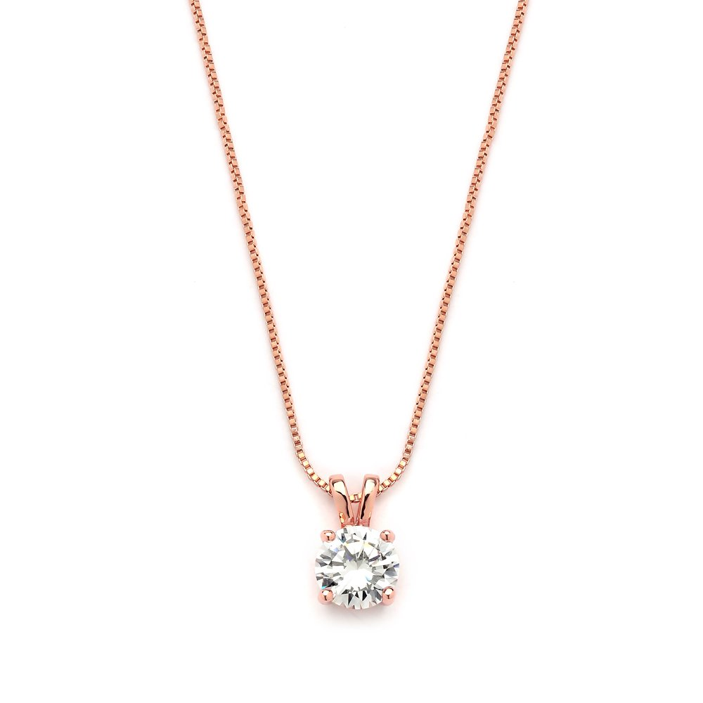 Mariell Luxurious 14K Rose Gold Plated 2 Carat Round-Cut Cubic Zirconia Necklace Pendant - Look of Real