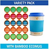 VitaCup Variety Pack w/Blue Bamboo ecoMug + 20 Recyclable Vitamin Infused Coffee & Tea Pods Compatible with Keurig K-Cup Style Brewers