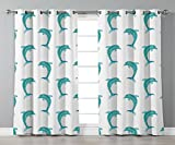 Thermal Insulated Blackout Grommet Window Curtains,Sea Animals Decor,Aqua Watercolor Art Dolphin Figures Ocean Playful Marine Underwater Theme,Aqua White,2 Panel Set Window Drapes,for Living Room Bedr
