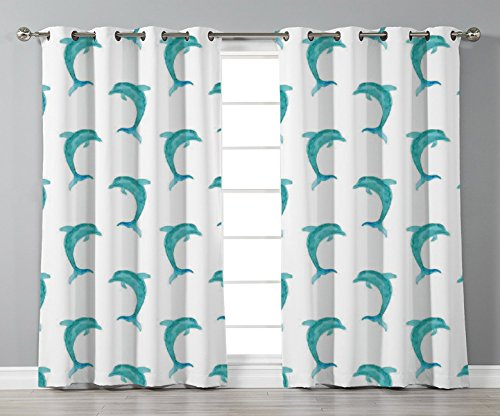Thermal Insulated Blackout Grommet Window Curtains,Sea Animals Decor,Aqua Watercolor Art Dolphin Figures Ocean Playful Marine Underwater Theme,Aqua White,2 Panel Set Window Drapes,for Living Room Bedr by iPrint