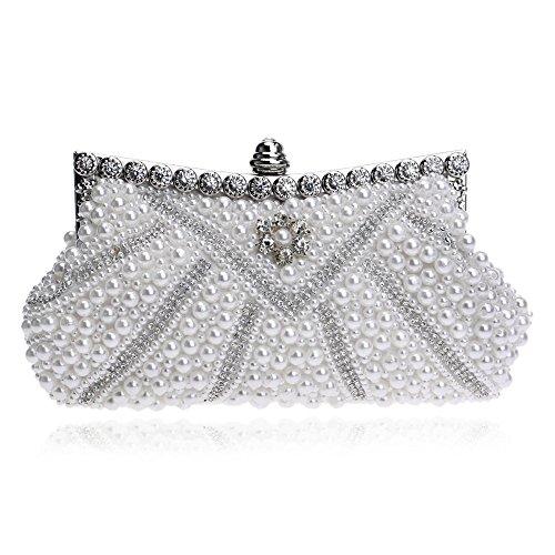 da perline nuziale notte perla Imitazione cocktail bianco diamanti festa per sposa donna pochette glitter nwEZEqC0f