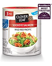 Clover Leaf Flaked Sockeye Salmon Wild Pacific – 3 Pack (3x142g), 1 Count - Canned Salmon – Skin & Bones Removed – High in Protein - 13g Protein Per 55g Serving Drained – Source of Omega-3, Vitamin D