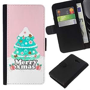 Planetar® Modelo colorido cuero carpeta tirón caso cubierta piel Holster Funda protección Para Sony Xperia M2 / M2 dual ( Christmas Tree Pink Winter )