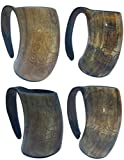 4 Pieces of Most Popular In U.S. & Europe THOR'S Hand Engraved XL Handmade 6'' Tall Game of Thrones'' style Drinking Viking Horn 16 oz For Beer Wine and Cold Drink