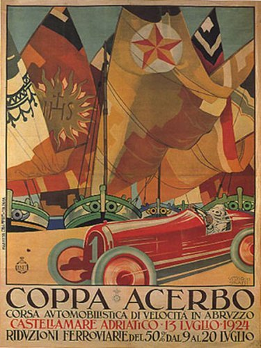 (WONDERFULITEMS COPPA ACERBO 1924 Italian Automobile Race CAR Racing Abruzzo Boats Italy 12