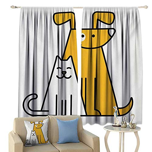 Light Luxury high-end Curtains Cartoon Cats and Dogs Human Best Friends Forever Kids Nursery Room Art Print Darkening and Thermal Insulating Black White and Apricot