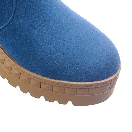 Pull on Toe Allhqfashion Boots top Heels Frosted Low Kitten Round Closed Blue Women's wqZOtB