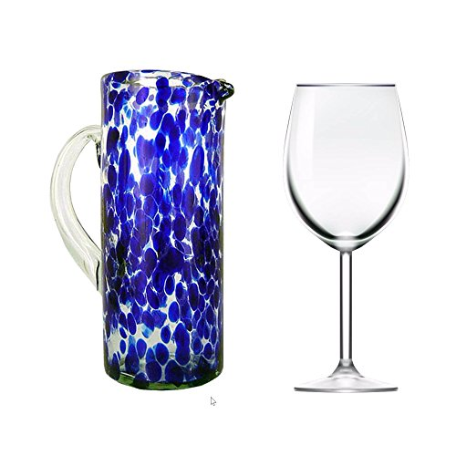 NOVICA Hand Blown Blue and Clear Decorative Recycled Glass Pitcher, 33 oz 'Dotted Blue' by NOVICA (Image #1)