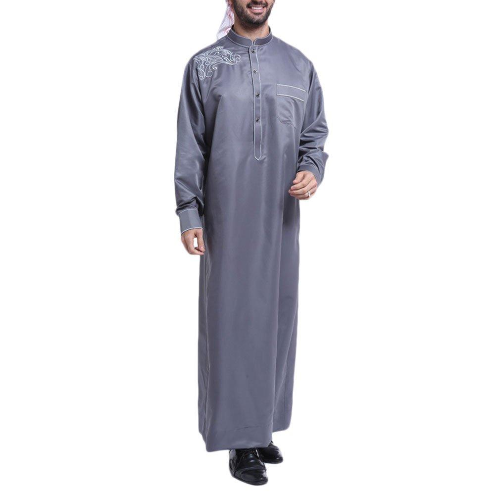 Zhuhaitf Mens Comfortable Formal Long Sleeve Muslim Thobes Robe Saudi Arab Dress