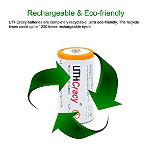 UTHCracy 5000mAh C Rechargeable Battery Ni-MH High Capacity High Rate Batteries 2 Pack