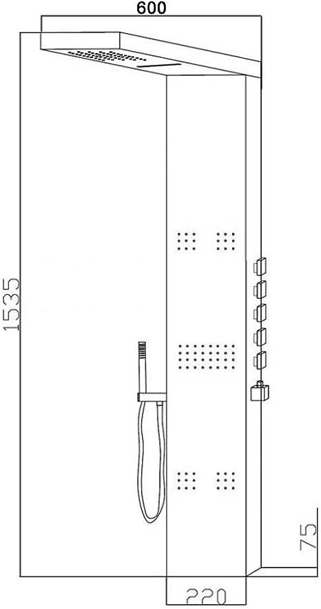 Panel de Ducha Termostático Hidromasaje Completo con Alcachofa a ...
