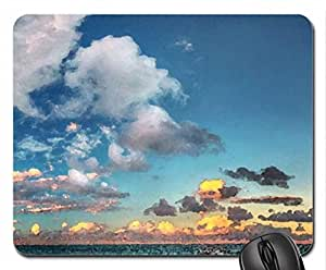 wondrous sky over azure sea Mouse Pad, Mousepad (Sky Mouse Pad, Watercolor style)