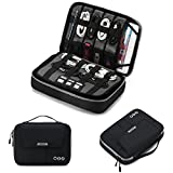 BAGSMART Universal Travel Cable Organizer Case Electronics Accessories Carry Bag for 9.7 inch iPad, Kindle, Power Adapter, Mac Book Charger, Black+Grey