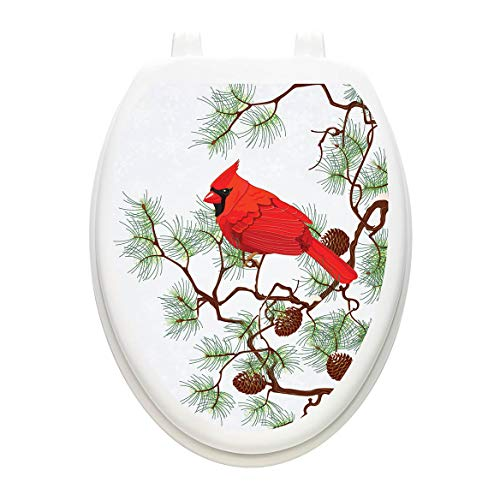 Toilet Tattoos, Toilet Seat Cover Decal, Winter Cardinal, Size Elongated]()