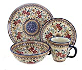 Polish Pottery Red Daisy 16 Piece Dinner Set