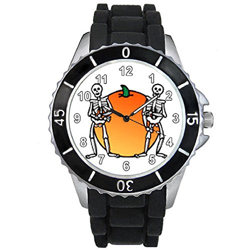 Halloween Pumpkin Skull Unisex Black Jelly Silicone Wrist Watch
