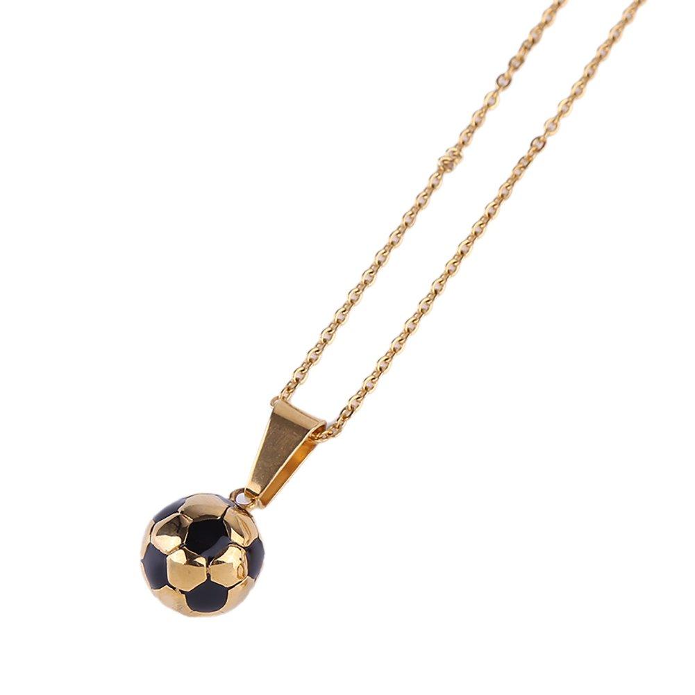 FentaクリスタルサッカースポーツボールペンダントネックレスWorld Cup Gift 2018 by B07BT9DSZ4ブラック Large