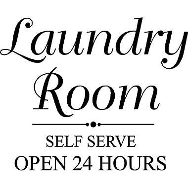 CreativeSignsnDesigns Laundry Room Self Serve Open 24 Hours- Vinyl Door/Wall Decal (Black)