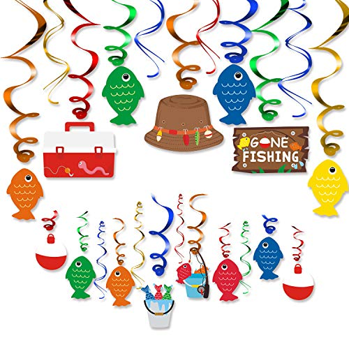 30CT Gone Fishing Party Hanging Swirl Decorations Kit Kids Little Fisherman The Big One Birthday Baby Shower Photo Props Summer Reel Fun Ideas Ceiling Door Foil Whirls Streamers Supplies (Fish Party Supplies)