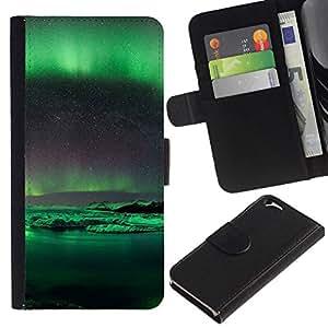 NEECELL GIFT forCITY // Billetera de cuero Caso Cubierta de protección Carcasa / Leather Wallet Case for Apple Iphone 6 // Aurora Borealis Antártida