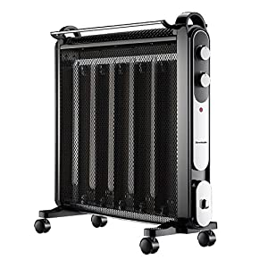 Homeleader Mica Heater, Micathermic Flat-Panel Heater, Movable Silent Energy-Saving Space Heater with Airers, Black, 1500W