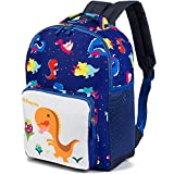 MODARANI Mini Lovely Dinosaur Printed Backpack with Safety Leash for Baby Kids 1 2 3 Years (dark blue)