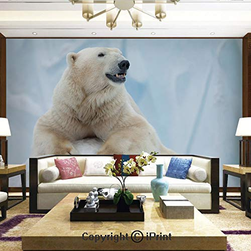 Wallpaper Nature Poster Art Photo Decor Wall Mural for Living Room,Portrait of Large White Polar Bear on Ice Claws Antarctica North Outdoors Decorative,Home Decor - 100x144 inches