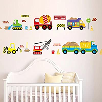 WandSticker4U- Wandtattoo Fahrzeuge für Kinderzimmer | Wandbild: 130x50 cm  | Wandaufkleber Fototapete Transporte Auto Sticker Bagger Baustelle | ...