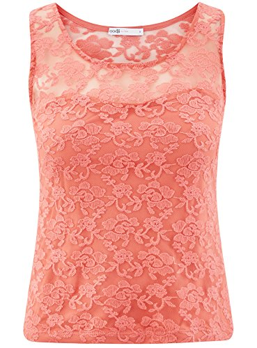 oodji Donna Ultra Arancione 4300n Pizzo Aderente Top in r4r5qdw